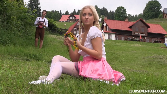 Ponytailed Tirol teen Cayla A gives a fucking good head and gets fucked out of her hose in the Alps