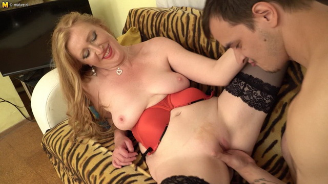 Mature Angelica gets some fresh meat and fisting in her long gown & dark holdups