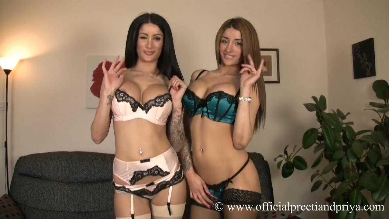 Half Indian twin bombshells Preeti and Priya peel off silky lingerie to tease in their cool nylons