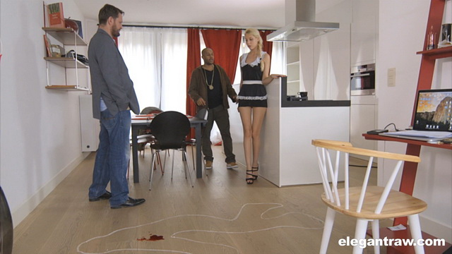 Sexy French maid Kimber Delice with super-long legs goes for an interracial fuck at the crime scene