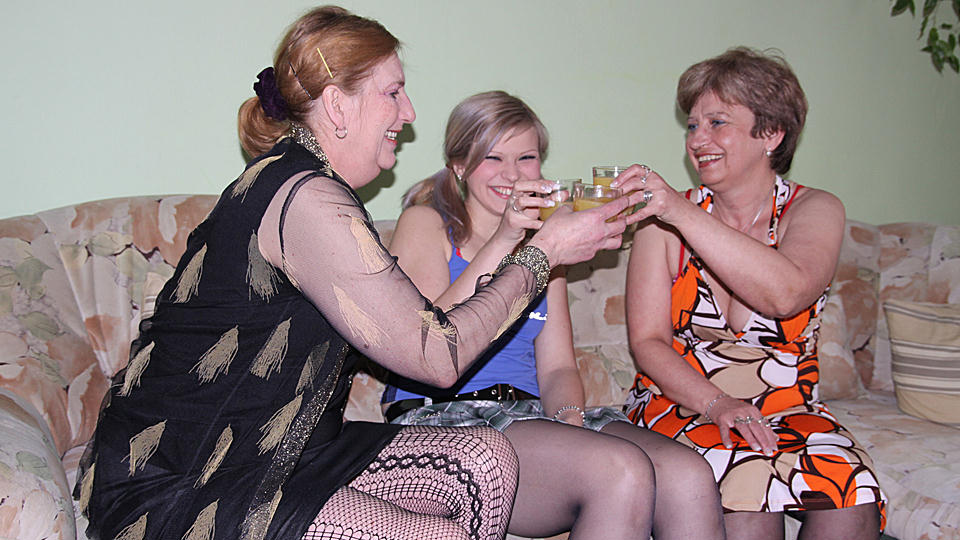 Drunken old dykes strip to black stockings and seduce a young gal