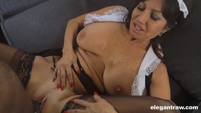 Bigtitted mature French maid Tara Holiday uses a glass toy before raw POV interracial in stockings