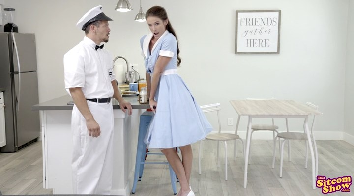 Horny housewife Sofie Marie peels her dirty white panties to milk a milkman