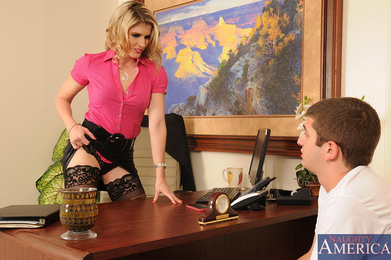Raunchy lady-dean Cory Chase parts her stockinged legs for a quick anal ride