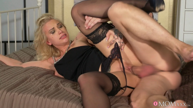 Dressy busty mom Alexis Bardot gives a fantastic head and opens stocking-clad legs for hard pounding