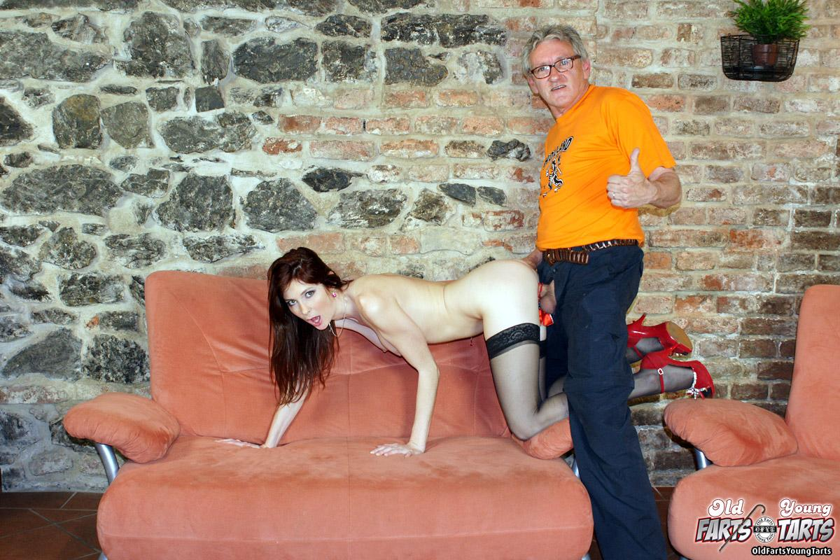 Black-stockinged hussy gets team fucked by a stud and a lucky old fart