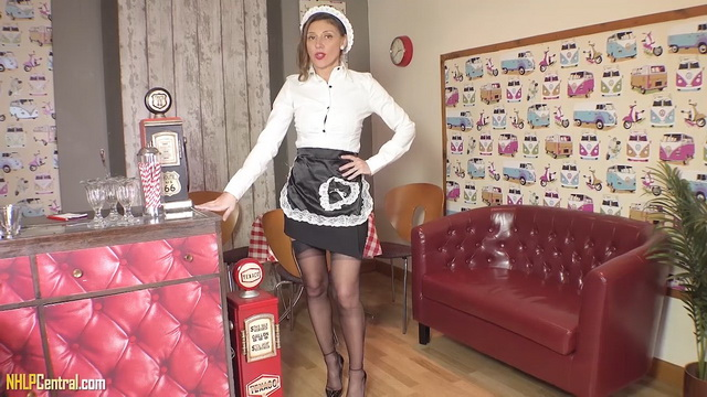 Naughty waitress French Chloe licks spike heels and teases with her retro nylons