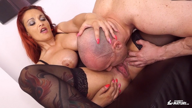 Tattooed mature Italian amateur Mary Rider gets facial after hot pussy and ass fuck