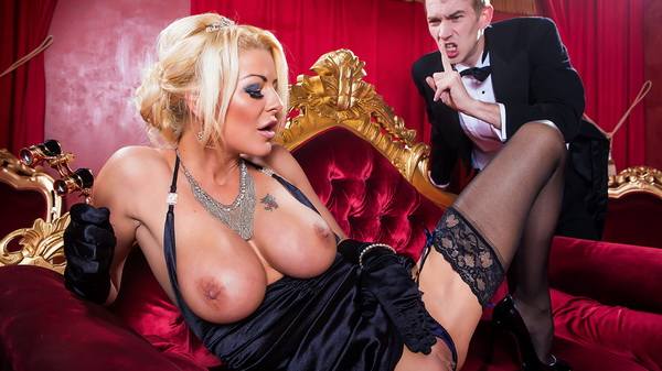 British blonde sexpot Tia Layne masturbates and gets laid in her evening outfit and stockings at the opera