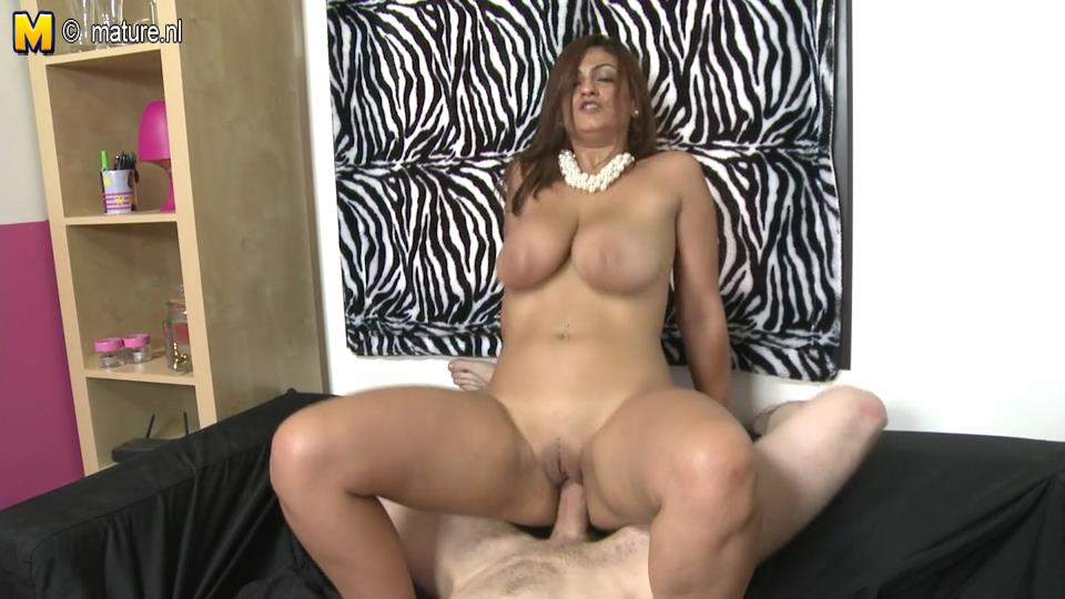 Big breasted Spanish mom Sandra Milka sucking and fucking in POV style