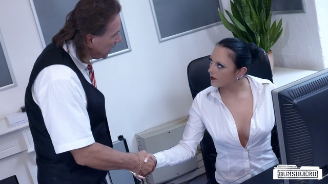 Sexy tattooed German MILF secretary Kate Nox sucks and fucks boss in hot office fuck