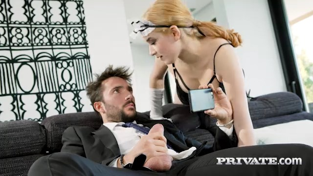 Spanish maid Mia Navarro catches her master wanking and rides him in her fishnets