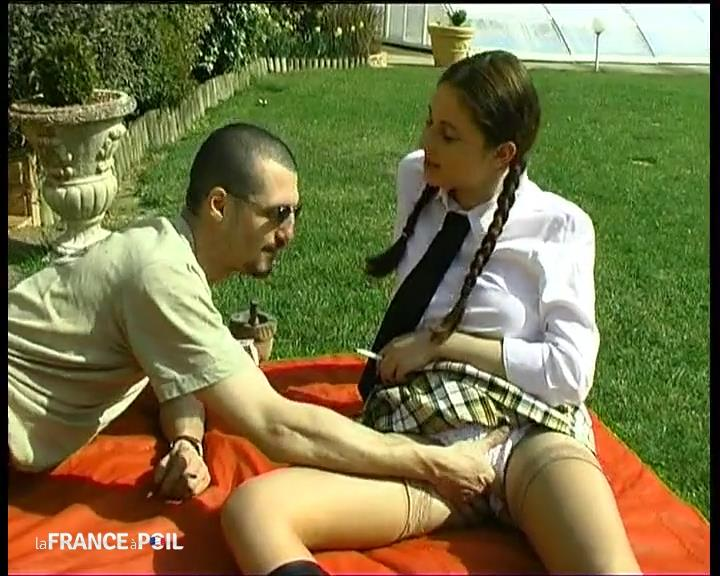 Busty young schoolgirl in stockings hard anal pounded and facialized outdoor