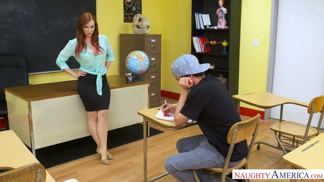 Busty redheaded teacher Dani Jensen in nude nylons offers her student a lifting up bang on the desk