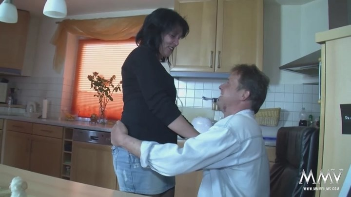 German mature housewife gets dirty with her hubby in the kitchen wearing her patterned top nylons