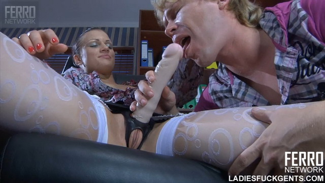 FerroNetwork / LadiesFuckGents - Sibylla F. - Kinky office girl finds an eager boyish mouth and ass for her strapon dick