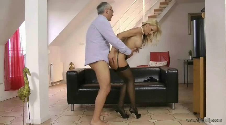 Smartened babe Valentina Valenti in black FF stockings fingered by an older gent
