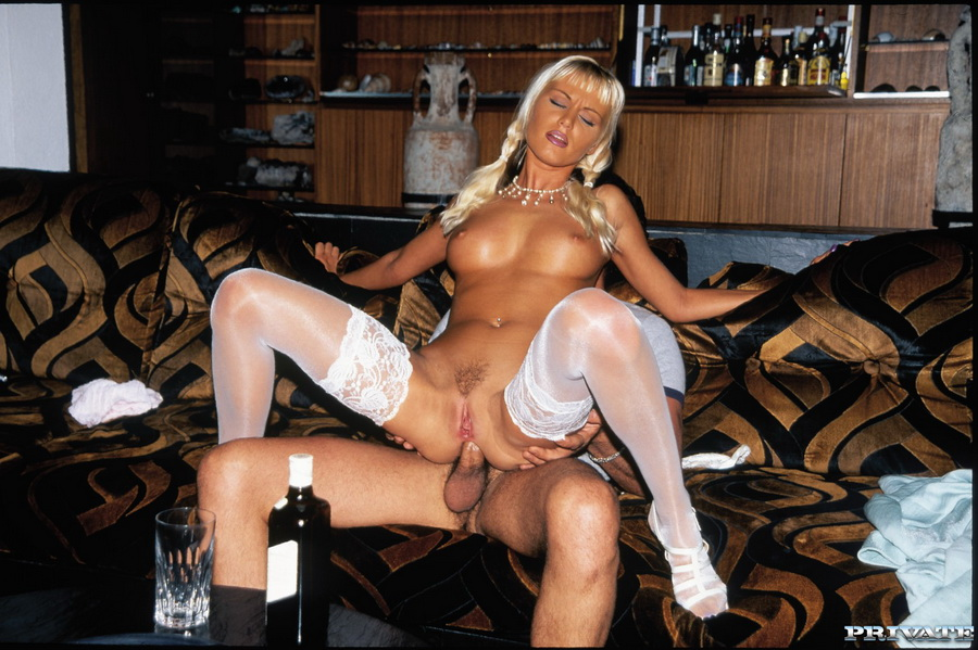 Pigtailed blonde opens legs in white stockings for stress-relieving pussy and butt pounding