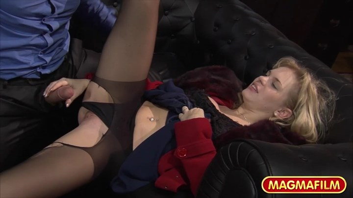 Blonde Baby Dream gets her black pantyhose ripped open for a round of fully clothed sex on a couch