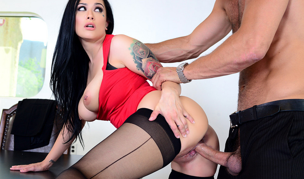 Nasty HR Katrina Jade gropes her co-worker and gets scored in her black FF stockings