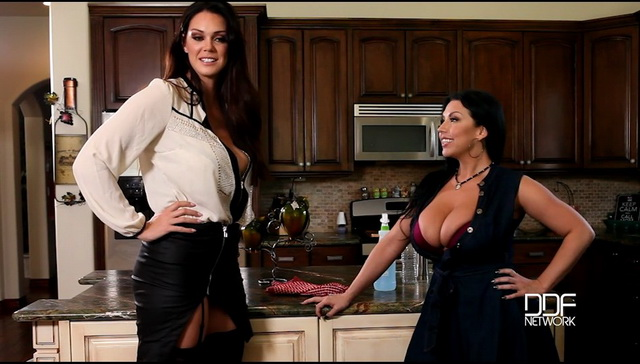 Stockinged US milfs Alison Tyler & Sheridan Love go lesbo toying their massive jugs and wet beavers