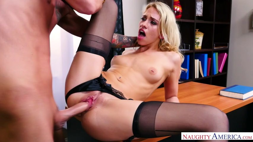 Upset blonde Khloe Kapri parts legs in stockings and heels for some sex therapy