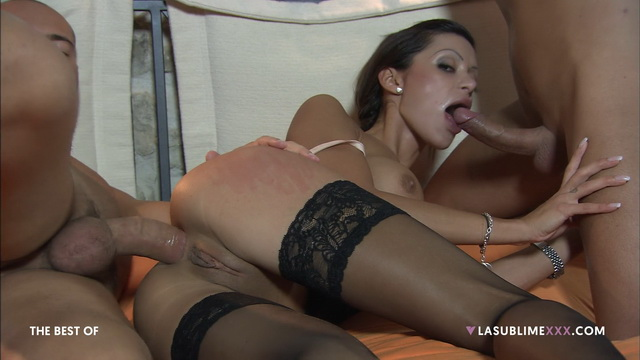 Busty Italian brunette Elena Grimaldi nailed in oral-anal stockinged threesome