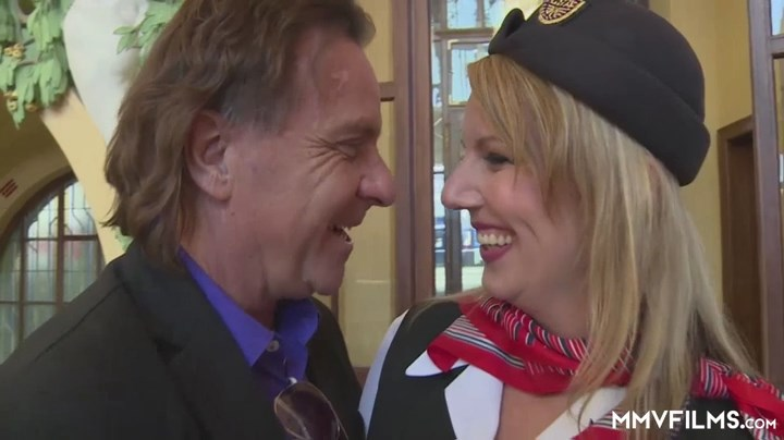 Uniformed air hostess Luci Angel gets her stockinged legs caressed before a road BJ and ass-to-mouth