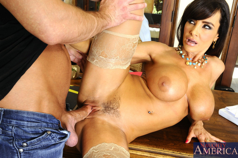Busty professor Lisa Ann parts her stockinged legs for her dumbass student