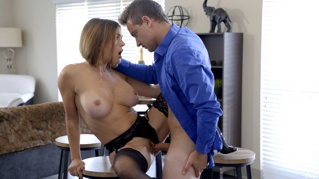 Bigtitted American milf Krissy Lynn peels her red bra for a hard stockinged fuck