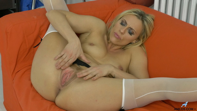 Blonde milf Brittany Bardot gets dirty in a sheer white bra & matching FF nylons