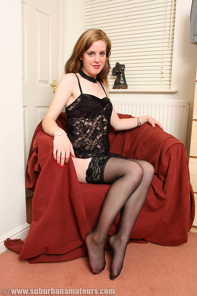 Amateurs wearing stockings british