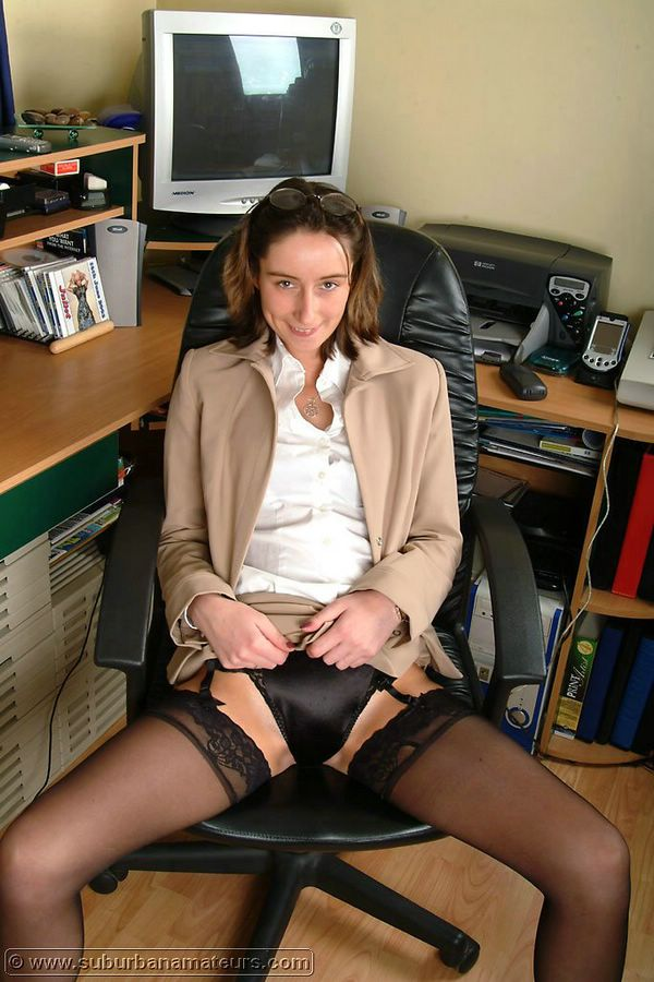 amateur stockings in Real secretary