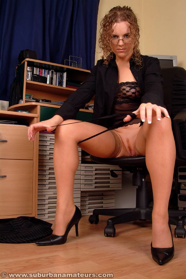 secretary in amateur stockings Real